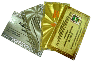 Gold and Silver Metal Cards