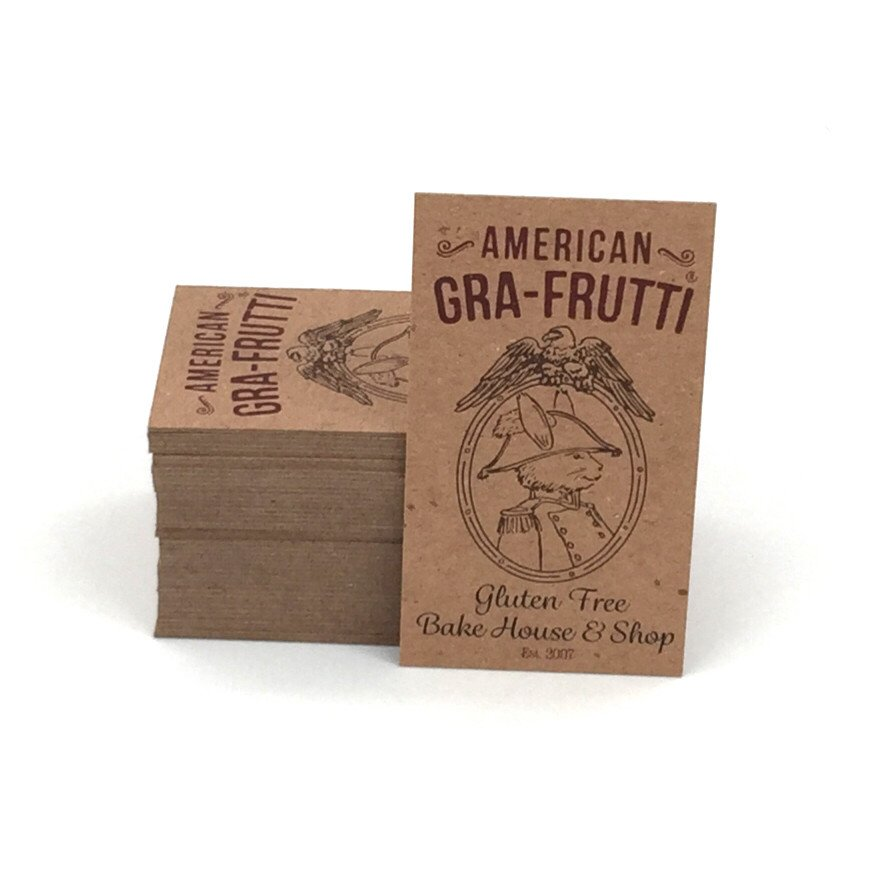 Natural business cards archives bracha printing 25 apr be environmentally friendly with 100 recycled brown kraft cards colourmoves